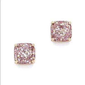 Kate Spade Rose Gold Glitter Square Stud Earrings